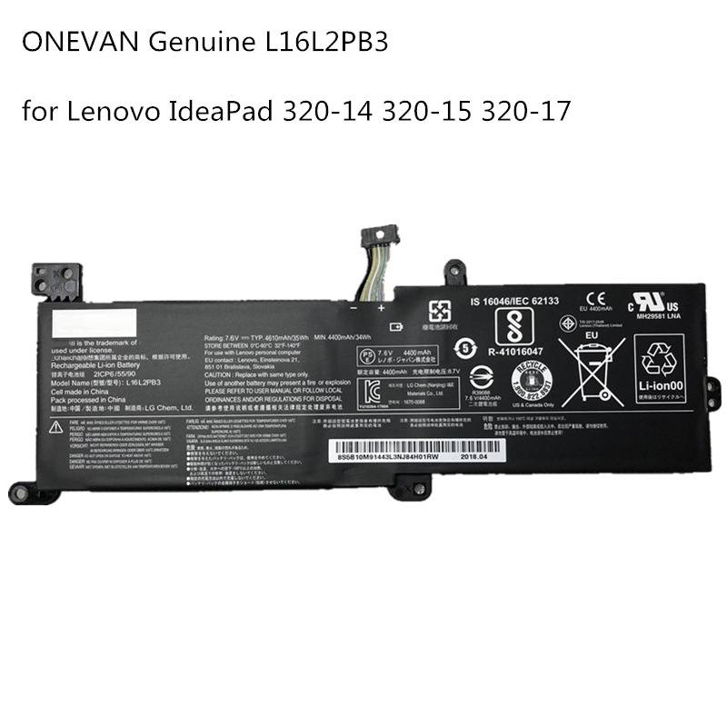 ONEVAN Genuine L16L2PB3 Laptop Battery For Lenovo Ideapad320-14AST 520-15IKBR 320-15AST XiaoXin 5000 L17L2PF1 L16S2PB2 7.6V 34Wh