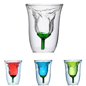 Odporny na ciepło 180ml różany kształt podwójna ściana szklana Tequila kubki podwójna ściana ed kawa piwo kubek do herbaty szkło Bar koktajl szkło tanie i dobre opinie LOULONG ROUND Ce ue Koktajl szkła Ekologiczne Zaopatrzony Rose Glass Rose Cocktail Glass Double Walled Glass 3D Flos rosae rugosae