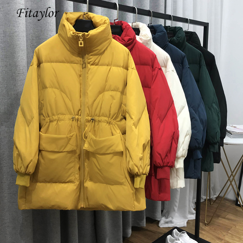 Fitaylor Winter White Duck Down Parka Loose Medium Long Breadwear Stand Collar Zipper Down Jackets Female Big Pocket Outwear