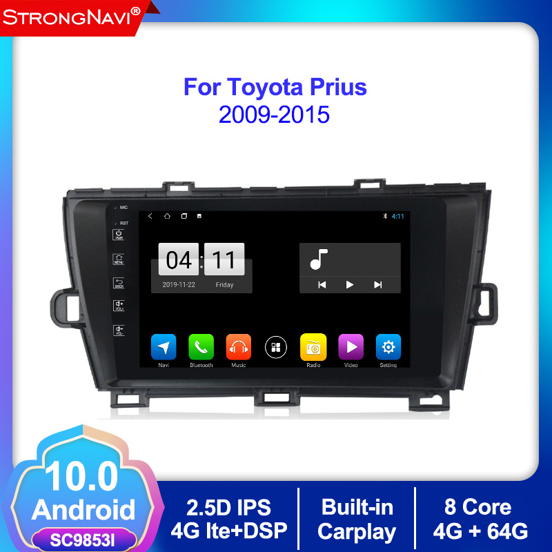 Android 10.0 4+64G Car GPS Navigation Radio Player Stereo Multimedia For Toyota Prius Left 2009-2015 Bluetooth,steering Wheel