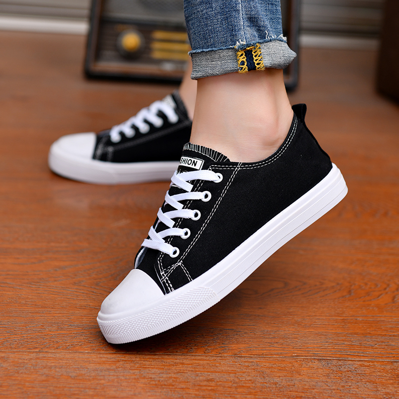 2020 New Women Vulcanized Shoes Breathable Non-slip Casual Canvas Shoes Woman Lace Up Platform Sneakers Zapatillas Lona Mujer