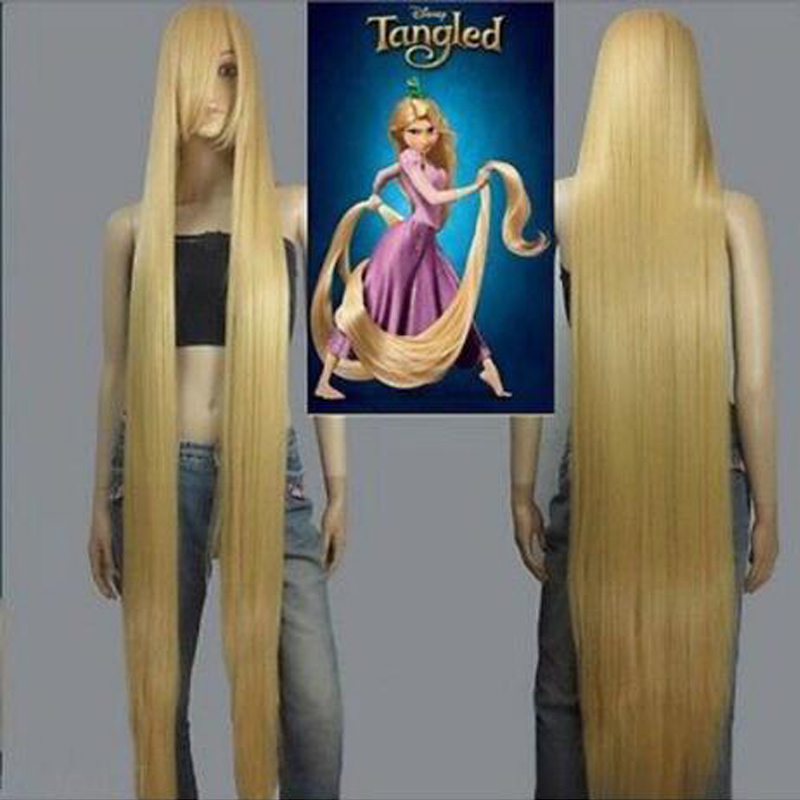 Movie Rapunzel 150cm Golden Straight Long Cosplay Wigs +Wig Cap Rapunzel Cosplay Long Hair Headwear Halloween Party Accessories