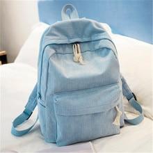 Style Soft Fabric Backpack Female Corduroy Design School Backpack For Teenage Girls Striped Backpack Women