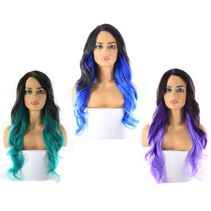Image 5 - Perruque synthétique avec raie latérale, perruque avec frange, perruque avec dentelle profonde Invisible longue ondulée couleur rose platine ombré X TRESS pour femmes