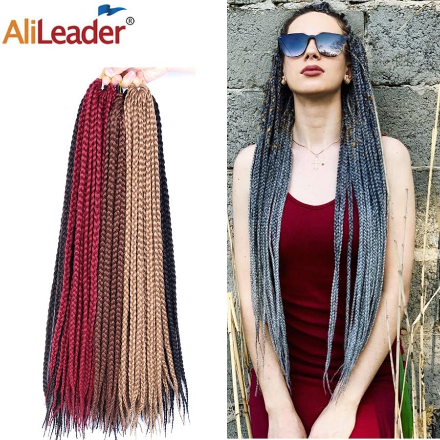 Alileader crotchet caixa tranças extensões de cabelo sintético crotchet trança cabelo castanho loiro cinza borgonha ombre