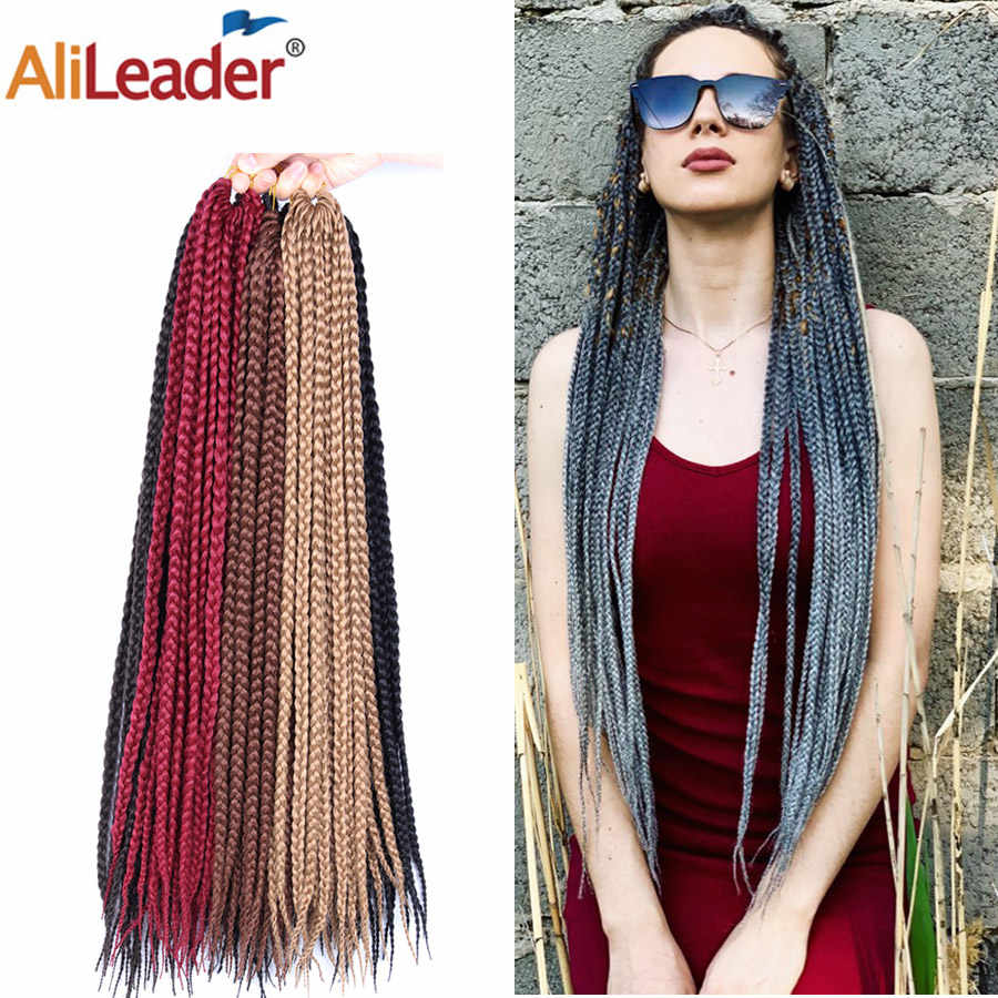 AliLeader Crotchet Box Braids Hair Extensions Synthetic Crotchet Braiding Hair Brown Blonde Grey Burgundy Ombre