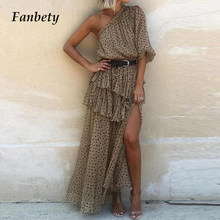 2021 Summer Fashion Sexy Irregular Ruffle Design Party Dress Women Elegant Off Shoulder Dot Print Casual Chiffon Dress Vestidos