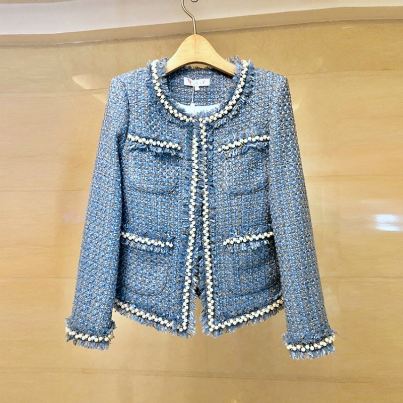 Fashion Brand Women Sleeveless Dress Tweed Jacket Two Piece Set Slim OL Suit Pearls Studded Tassels Outfits Twill Matching Sets