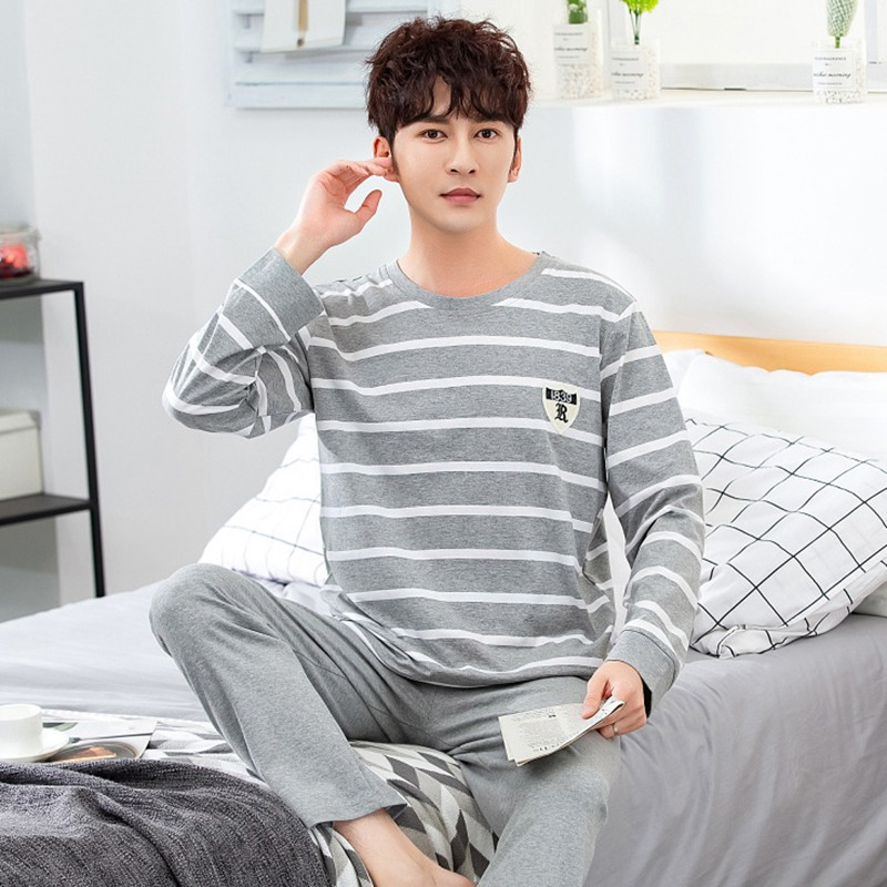 Casual Striped Cotton Long Sleeve Pajama Sets For Men 2019 Autumn Sleepwear Suit Male Underwear Loungewear Homewear Home Clothes