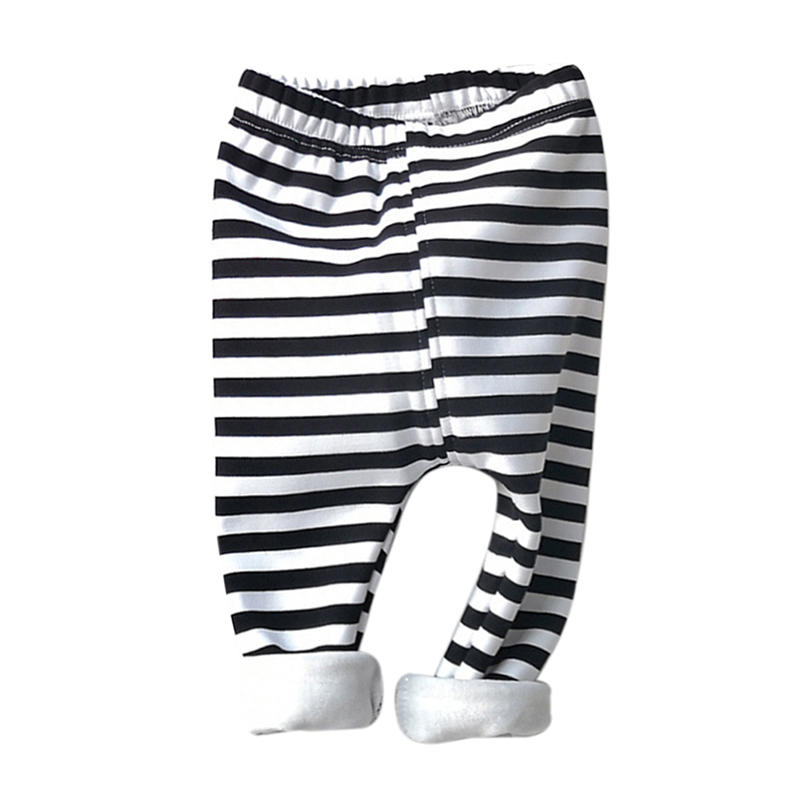 1Pc Baby Boy Girl Autumn And Winter Kids Pants Black And White Stripes Warm Velvet Casual Trousers Clothing