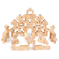 100 pcs Wooden Children Pile Up Wood Environmental Protection Building Blocks Early Education Toys For Children Christmas Gift