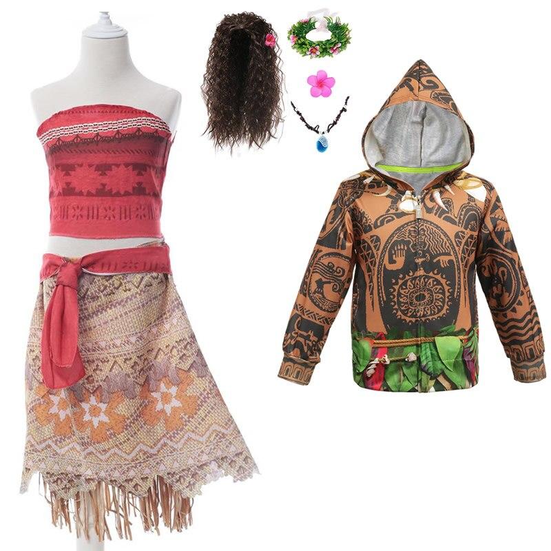 Niños Ocean Adventure película de dibujos animados Moana vestido con maui Up disfraces chicas Halloween fiesta disfraces niños Año nuevo ropa de lujo