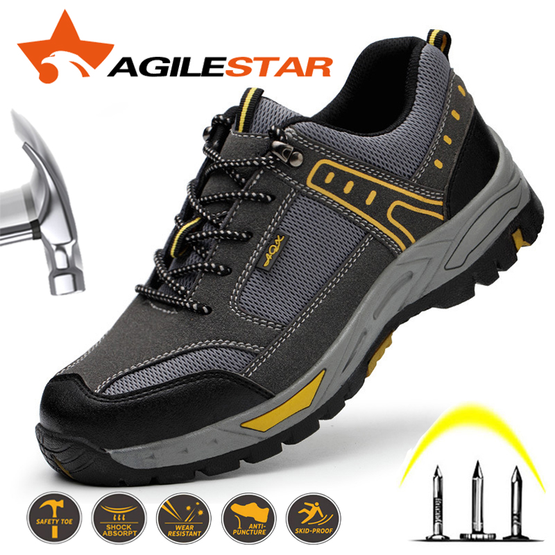 Men Safety Shoes Steel Toe Work Shoes For Men Boots Lightweight Breathable Anti-smashing Puncture Proof Construction Sneaker