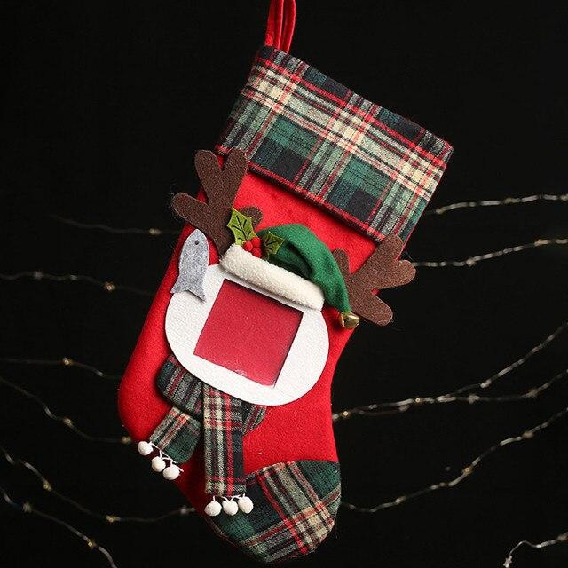 Christmas Stockings Socks Santa Claus Plaid Big Hangingcandy Gift Bag Party Supplies Decoration For Home Pendant Gifts Wholesa 4