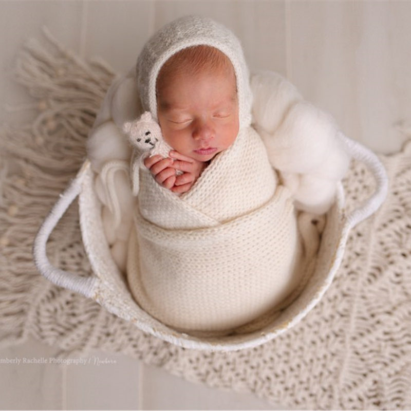 Newborn Linen Blanket Photography Props Handwoven Cotton Sitter Blanket For Baby Picture Props Studio Photography Accessories