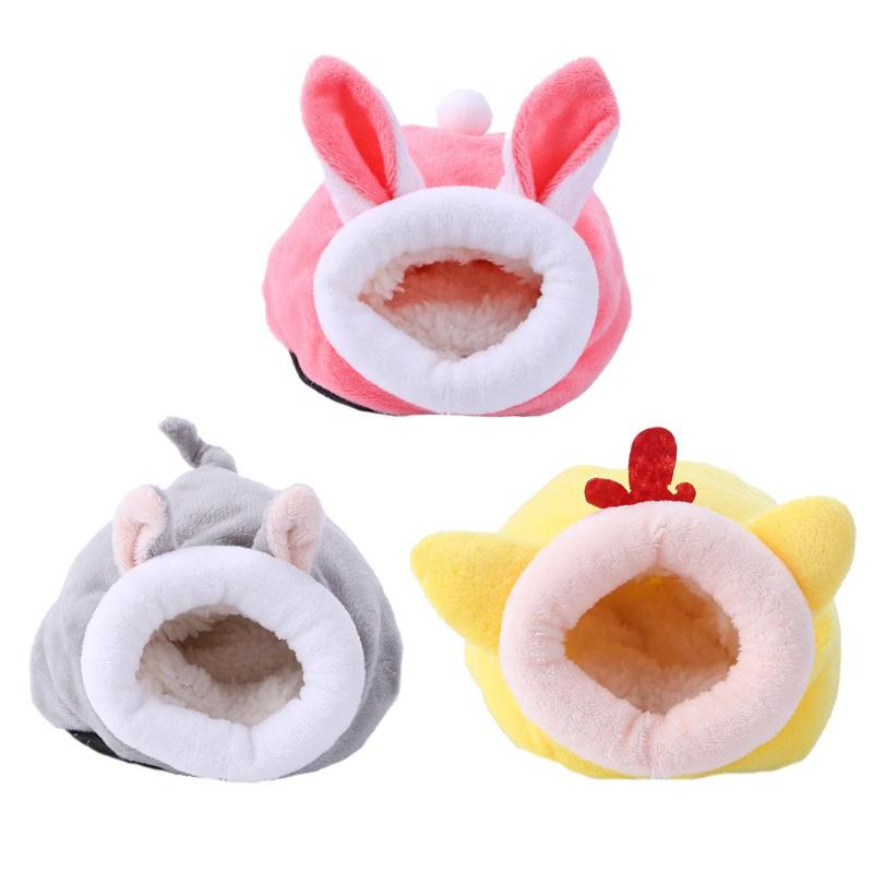 Small Animal Sleeping Warm Nest Plush Lovely Rabbit Mouse Chicken Shaped Cotton Hamster Hedgehog Yurt House Bed Pet Supplies