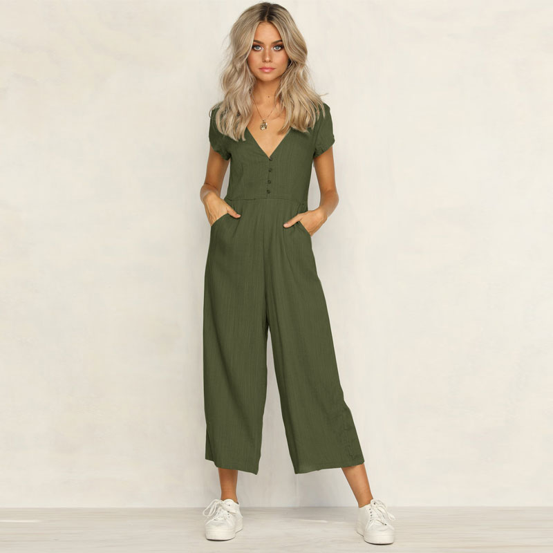 Women Jumpsuit 2020 New Summer Casual Cotton Blend Jumpsuit Solid Color Short Sleeve V Neck Straight Cut Trousers