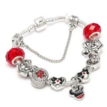 Cute Mickey Mouse Themed Bracelet Bracelets Jewelry New Arrivals Women Jewelry Metal Color: 8 Length: 18cm