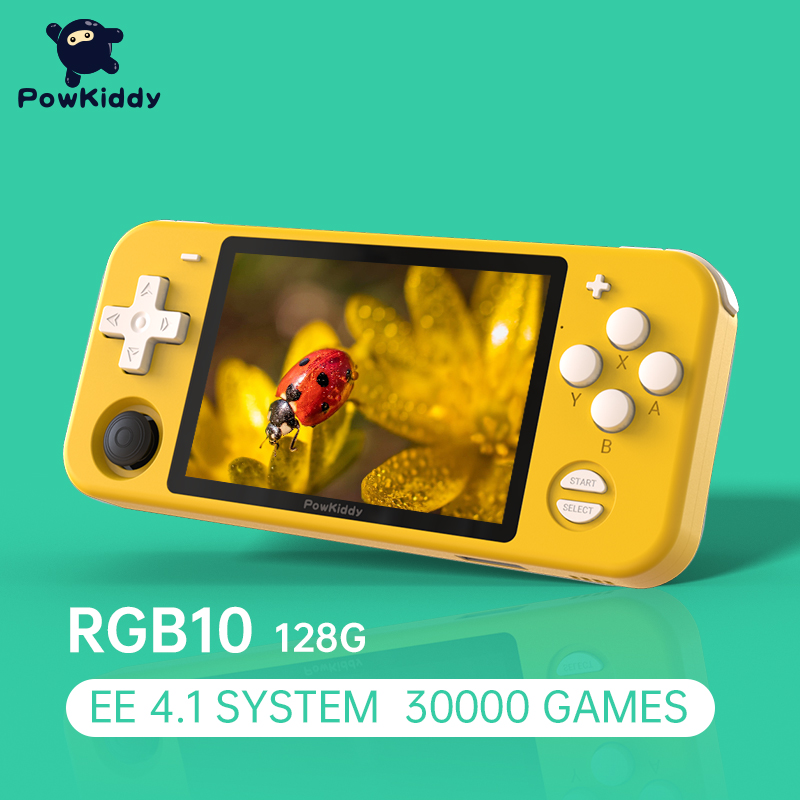 POWKIDDY RGB10 3.5-Inch IPS Open Source Handheld Game Console Players RK3326 EE4.1 Version 128G 30000 Games Children's gifts