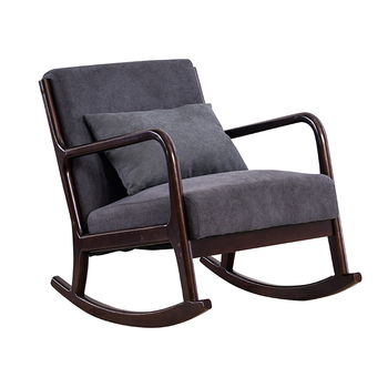 Modern Hardwood Rocking Chair Armchair Living Room Furniture Home Nap Leisure Lounge Executive Rocking Chair Wooden Single Sofa mid century modern style armchair sofa chair legs wooden linen upholstery living room furniture bedroom arm chair accent chair