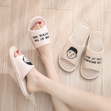 Linen Slippers Slides Home-Shoes Summer Open-Toe Spring No Couple Cozy Soft-Bottom And