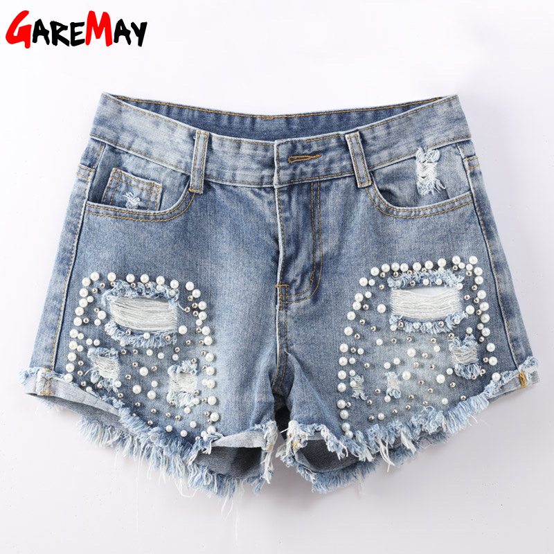 GAREMAY Denim Ripped Shorts For Women Slim Sexy Vintage Jeans Shorts Femme Pearl Beads Ladies Destroyed Short Jean Feminino