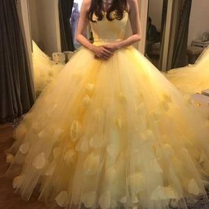 Robe modèle adorable, sans bretelles, modèle Floral | Robe de bal, grande taille, jaune, pour 15 ans