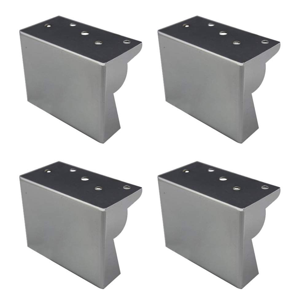 Silver Sofa Feet X4, Coffee Table/Cabinet/Bed Replacement Legs Thick Square Furniture Legs High 8cm
