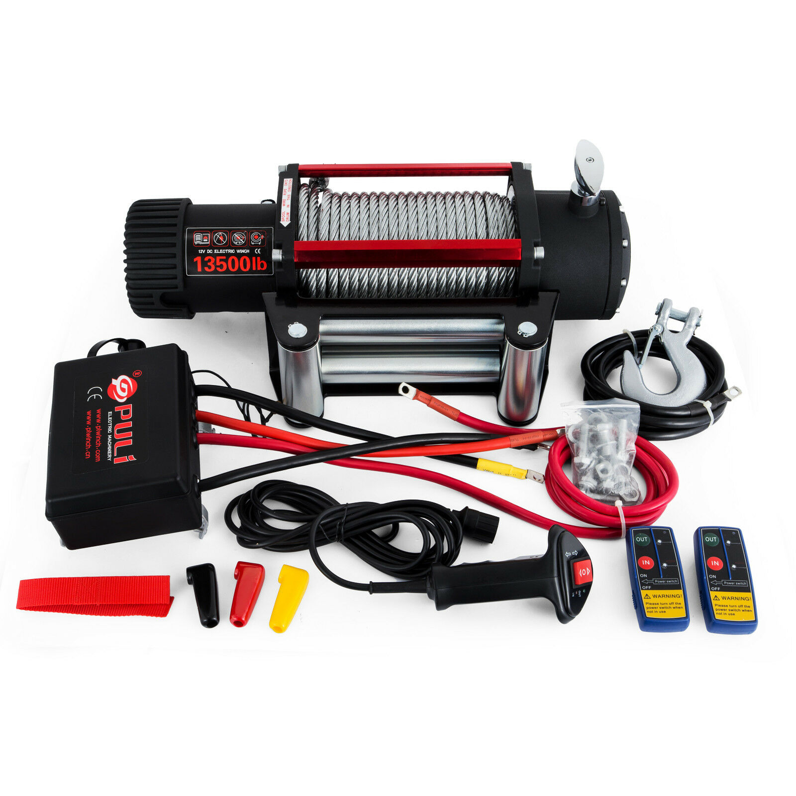 Electric Steel Rope Winch 12V 6120KG 13500lbs Remote Control 5KW Recovery (12V)