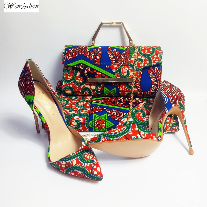 WENZHAN High Heel Shoes With Ankara Real Wax Print Fabric 6yards And Clutch Handbag Shoulder Bags 3pcs/set hottest 912-4