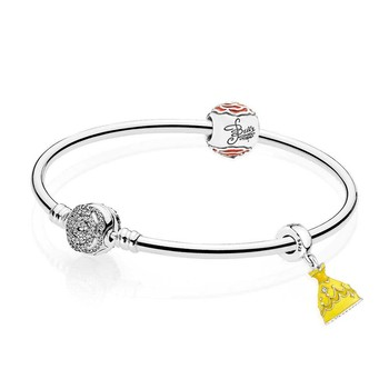 NEW 925 Sterling silver Belle's Enchanted Rose Bangle Set Clear CZ fit DIY Original charm Bracelets jewelry A set of prices