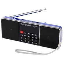 Мини Портативный Перезаряжаемый стерео L-288 fm-радио динамик с поддержкой ЖК-экрана TF карта USB диск MP3 музыкальный плеер громкий динамик(синий