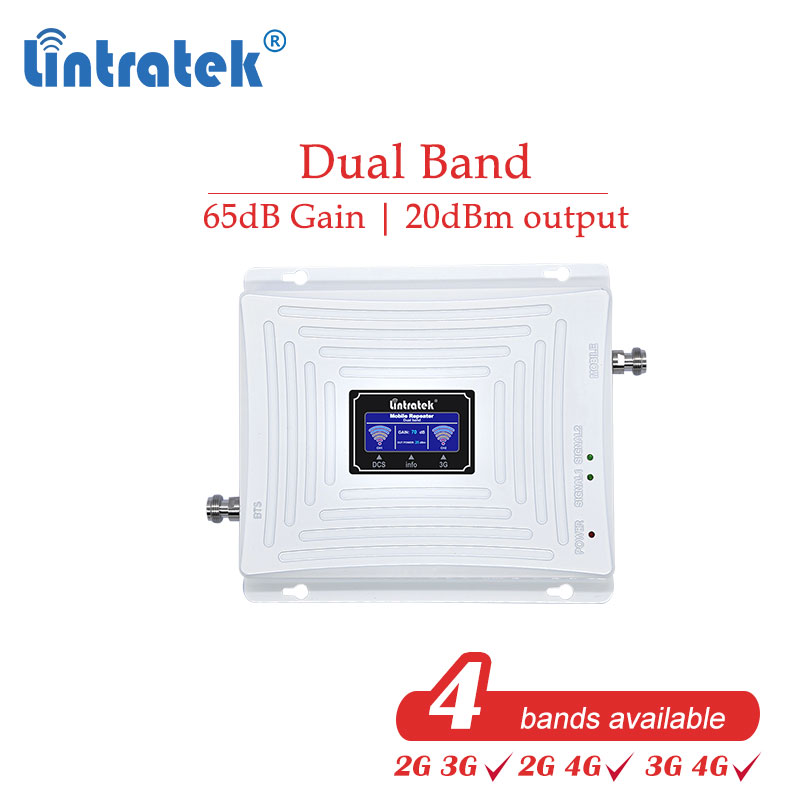 Lintratek 3G 4G 2G 2100mhz 1800mhz 900 GSM 850 Cellular Booster CellPhone Signal DCS WCDMA UMTS 2100 1800 Repeater Amplifier #dk