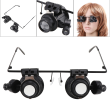 Wearing Type 20X Magnifier,Dual Eye Lens Loupe,Jeweler Magnifying Glass Optical Lens Tool with 2 LED Light for Electronic Repair mg81001 h two way regulation head wearing magnifier w 2 led light black white 3 x aaa