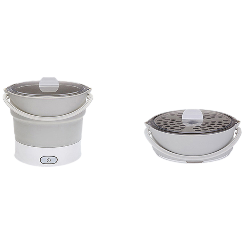 ABRA-Folding Electric Skillet Kettle Heated Food Container Heated Lunch Box Cooker Portable Hot Pot Cooking Tea Eu Plug