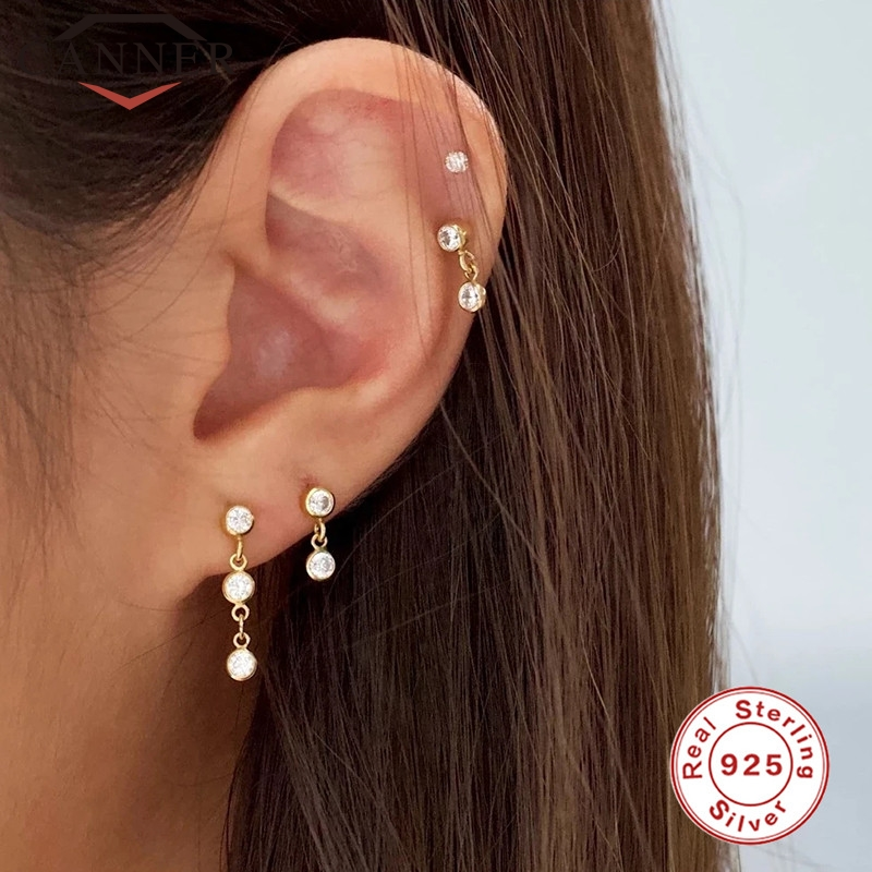 CANNER 925 sterling silver INS style Crystal Zircon Piercing Cartilage Stud Earrings for Women ladies earings Jewelry pendientes