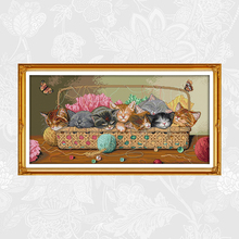 Eight kittens in a basket Patterns Aida Fabric Cross Stitch kits,Embroidery Needlework Sets, Handmade Crafts Home Decoration