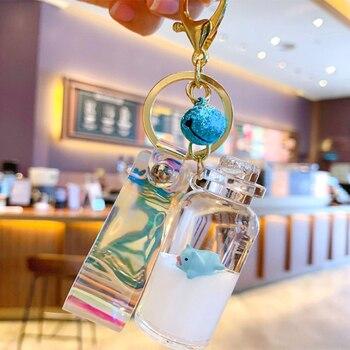 Llavero bonito Animal flotante con forma de lechón para botella líquida para mujer y hombre, llavero colgante con forma de botella, accesorios para bolso, llavero