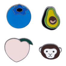 Fruit Avocado Monkey Peach Blueberry Metal Lapel Pins Hard Enamel Pin Cute Badge Fashion jewelry