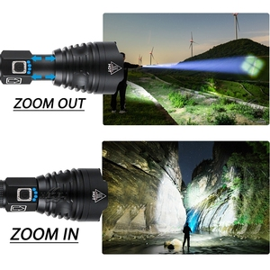 Image 5 - 가장 강력한 LED 손전등 새로운 크리 어 XHP90 USB 충전식 LED 토치 XHP50 XHP70 줌 핸드 램프 2*18650 또는 2*26650 배터리 42W