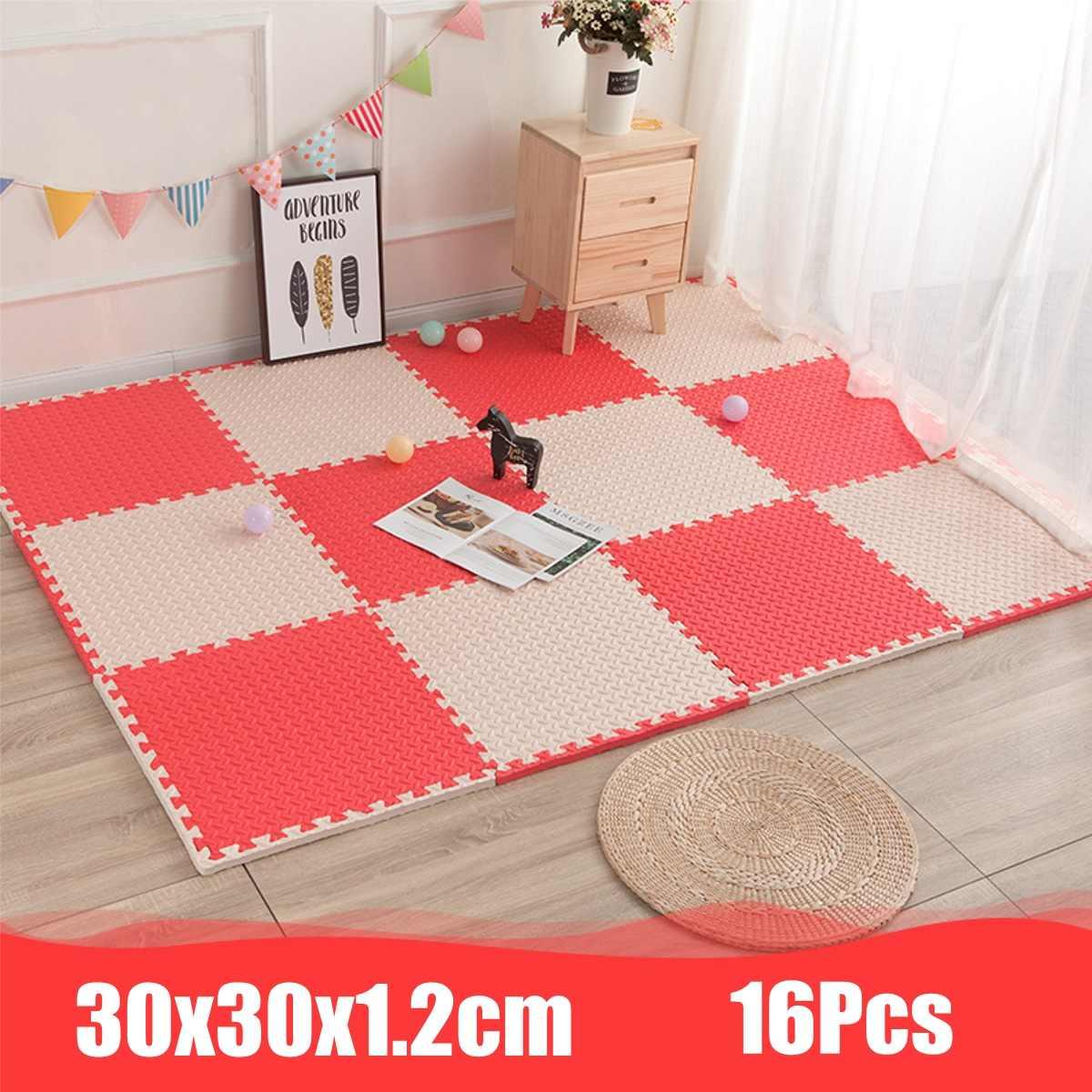 30x30x1.2cm 16 pièces EVA mousse Puzzle tapis Split Joint tapis de jeu dessins animés modèles tapis de sol doux pour bébé ramper exercice