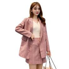 Женский офисный костюм из двух предметов розовый клетчатый блейзера