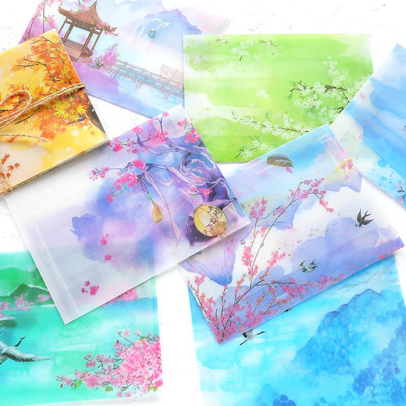 5 Pcs Retro Gaya Cina Amplop Kawaii Stationery Amplop untuk Undangan Pernikahan Huruf Undangan Kartu Pos Penutup Hadiah Tas