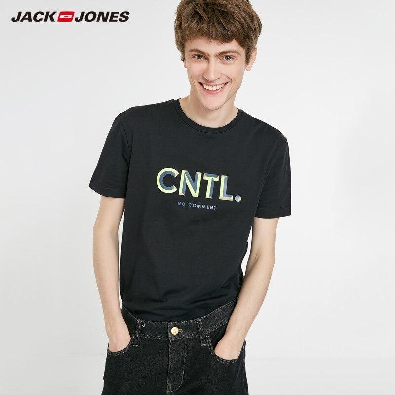 JackJones Men's 100% Cotton Letter Print Straight Fit Round Neckline Short-sleeved T-shirt Style| 219101508
