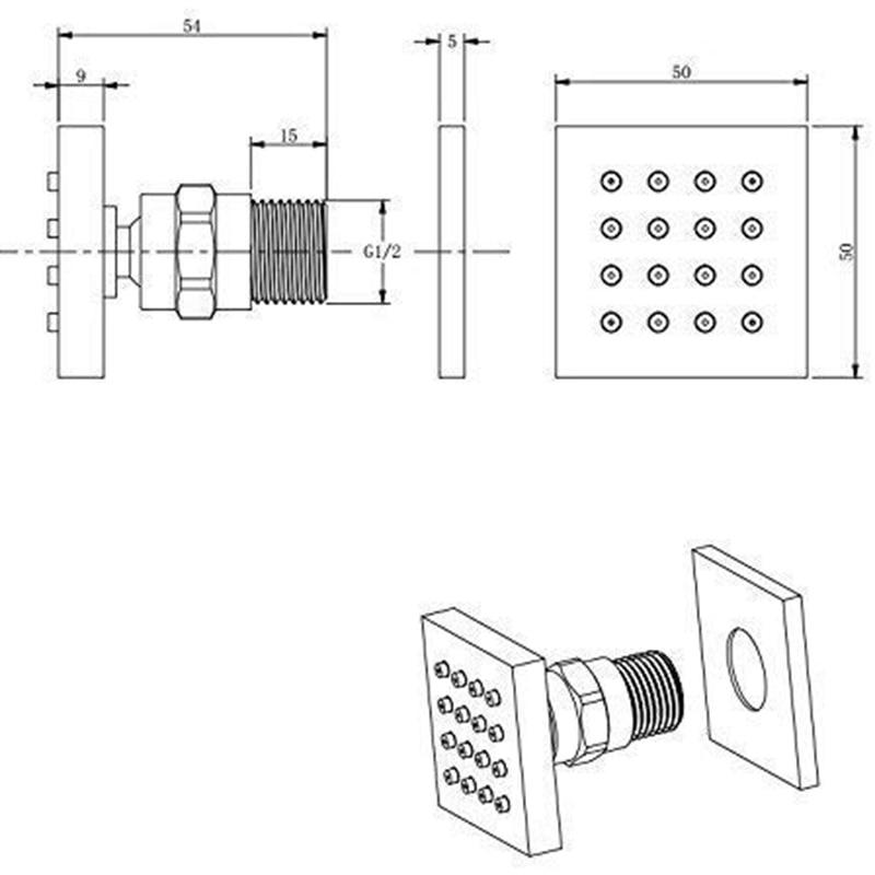 Jet de pulvérisation corporel carré en cuivre | 16 buses, douche Spa pomme de Massage au mur (2X2 pouces, paquet de 4) - 2