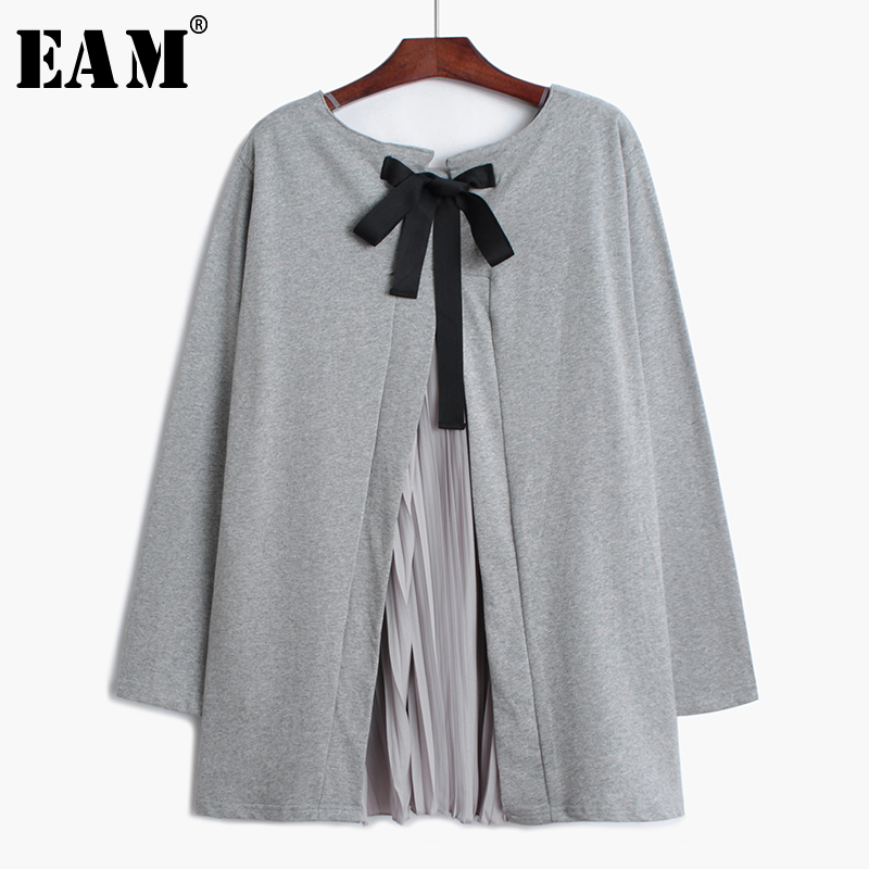 [EAM] 2019 New Spring Summer Round Neck Short Flare Sleeve Hit Clor PleaTed Chiffon Big Size T-shirt Women Fashion Tide JU652