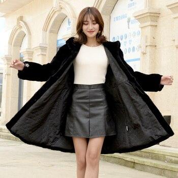 цена на Rabbit Fur Coat Women's Mid-length Rex rabbit fur whole leather warm fashion coat Winter new Korean style hooded coat