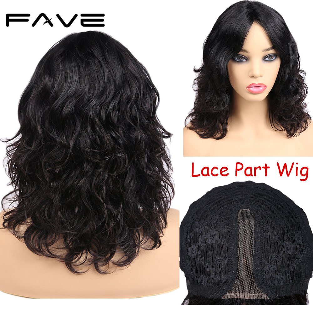 FAVE Short Bob Wig Lace Middle Part Brazilian Human Remy Hair Natural Wave Wigs Pre Plucked 150% Denisty For White/Black Women