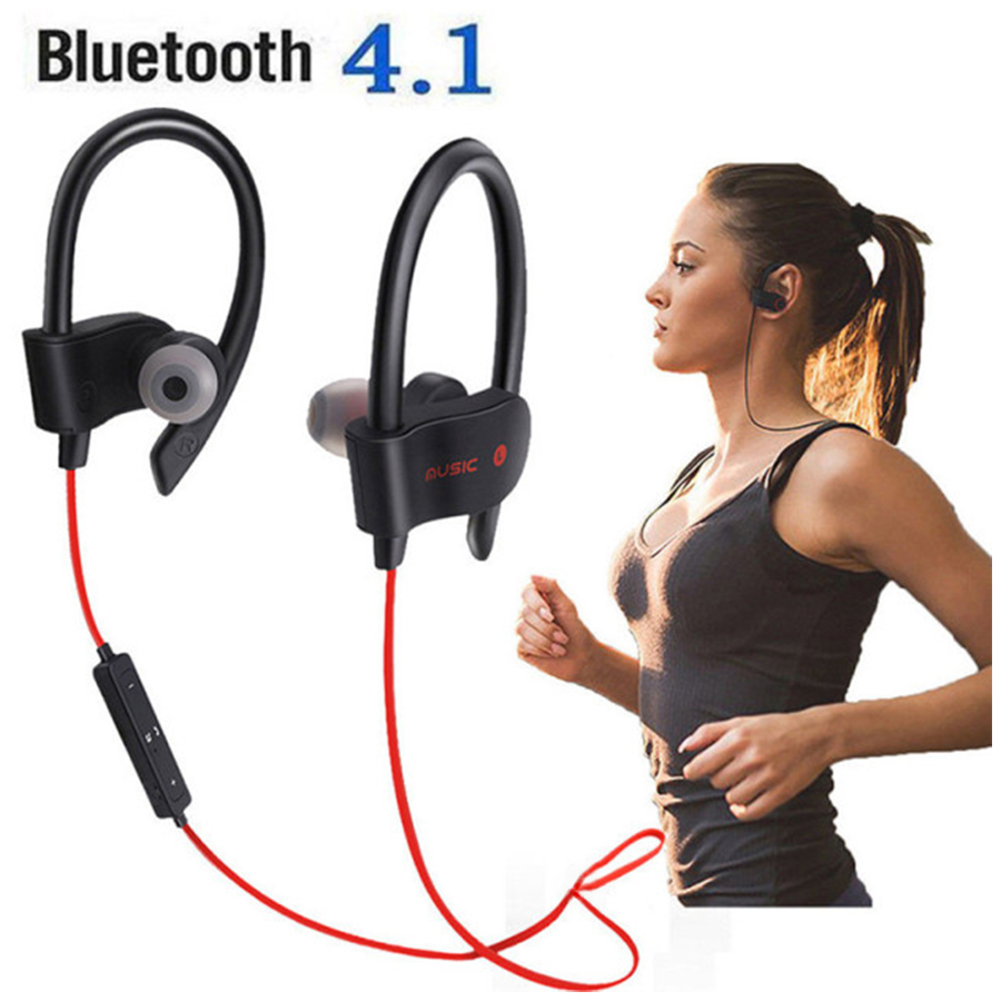 4.1Bluetooth Earphone Earloop Earbuds Stereo Bluetooth Headset Wireless Sport Earpiece Handsfree With Mic For All Smart Phones