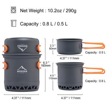 Widesea Camping Cookware Outdoor Cooking Set Heat  Cooker Travel Tableware Tourist Kitchen Pot Utensil Equipment 2